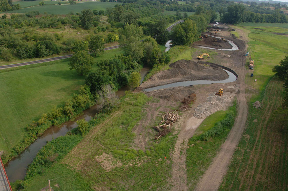 Aerial View of River Construction
